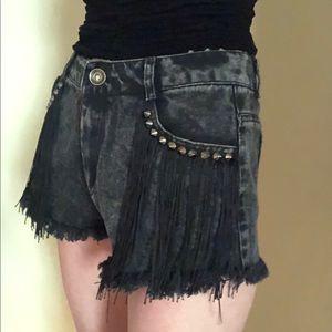 Pants - High waisted fringe shorts